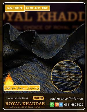 KD924 Gloden - Blu - Black Handmade Khaddi