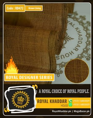 Brown Lining Royal Summer Designer Khaddar RD472
