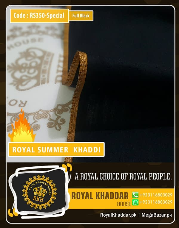 Full Black Special Royal Summer Khaddar RS350-Special
