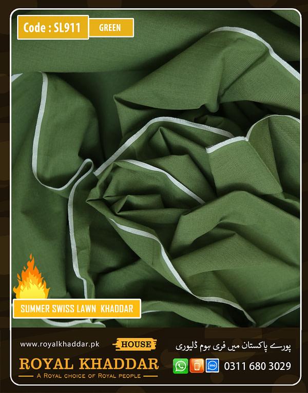 SL911 Green Swiss Lawn Khaddar