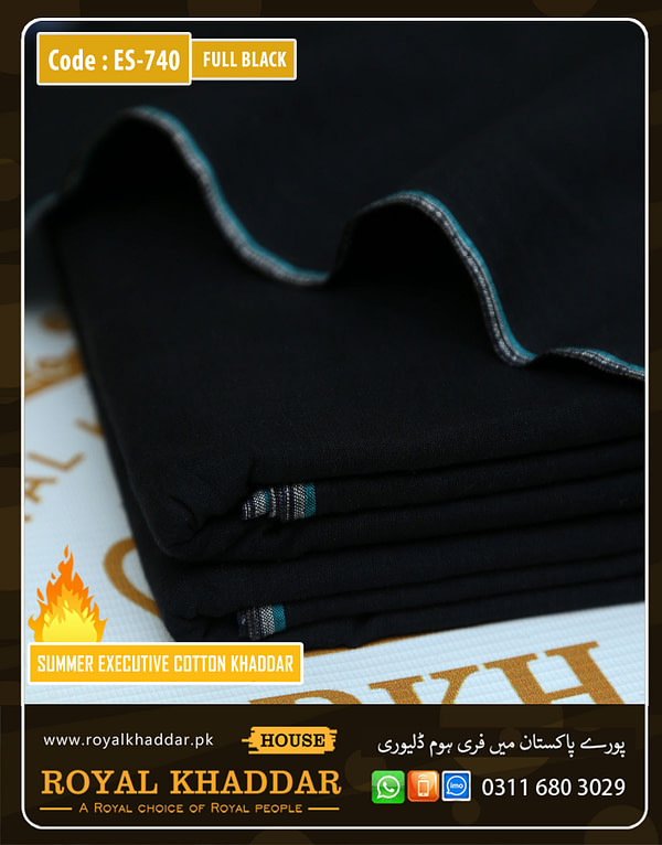 ES740 Full Black Summer Khaddar