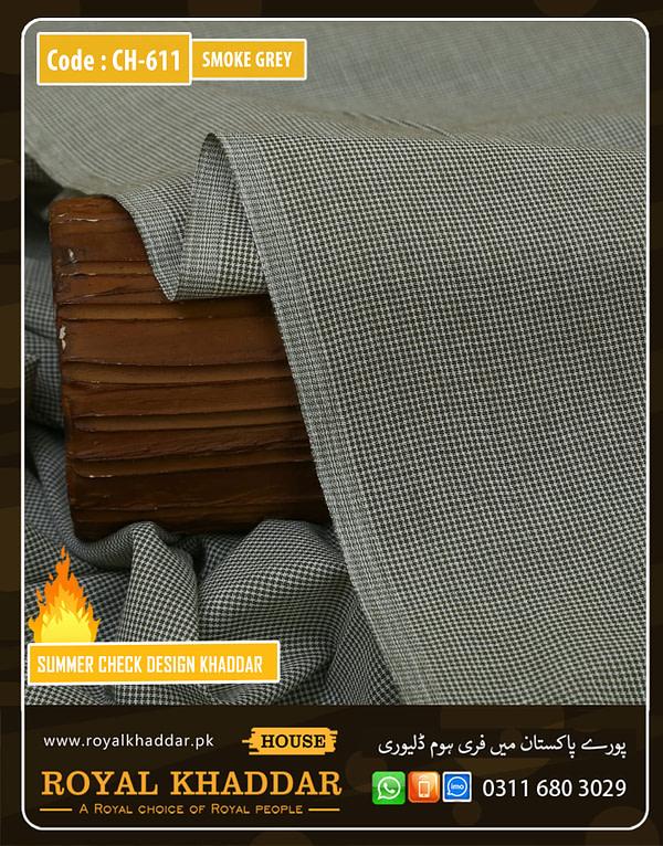 CH611 Smoke Grey Check Summer Khaddar