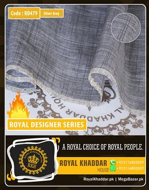 Silver Grey Royal Summer Designer Khaddar RD479