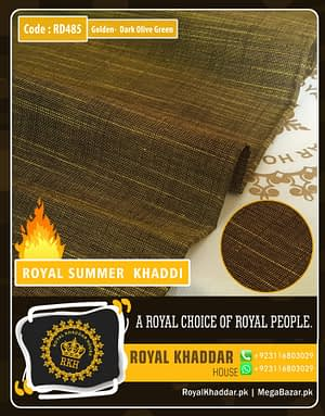 Golden - Dark Olive Royal Summer Designer Khaddar