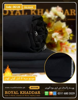 DG120 Full Black Double Goli Winter Khaddar